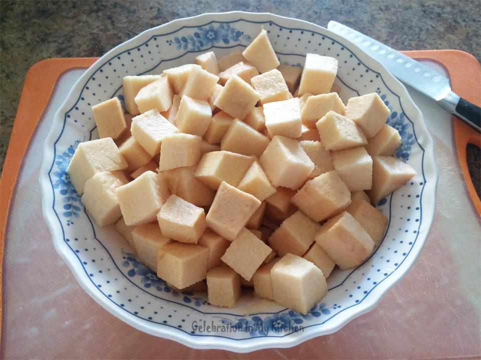 Savoury Suran Or Elephant Foot Yam Goan Style Suran Suran With Coconut Celebration In My Kitchen Goan Food Recipes Goan Recipes