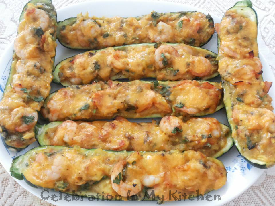Stuffed Zucchini Boats with Shrimps