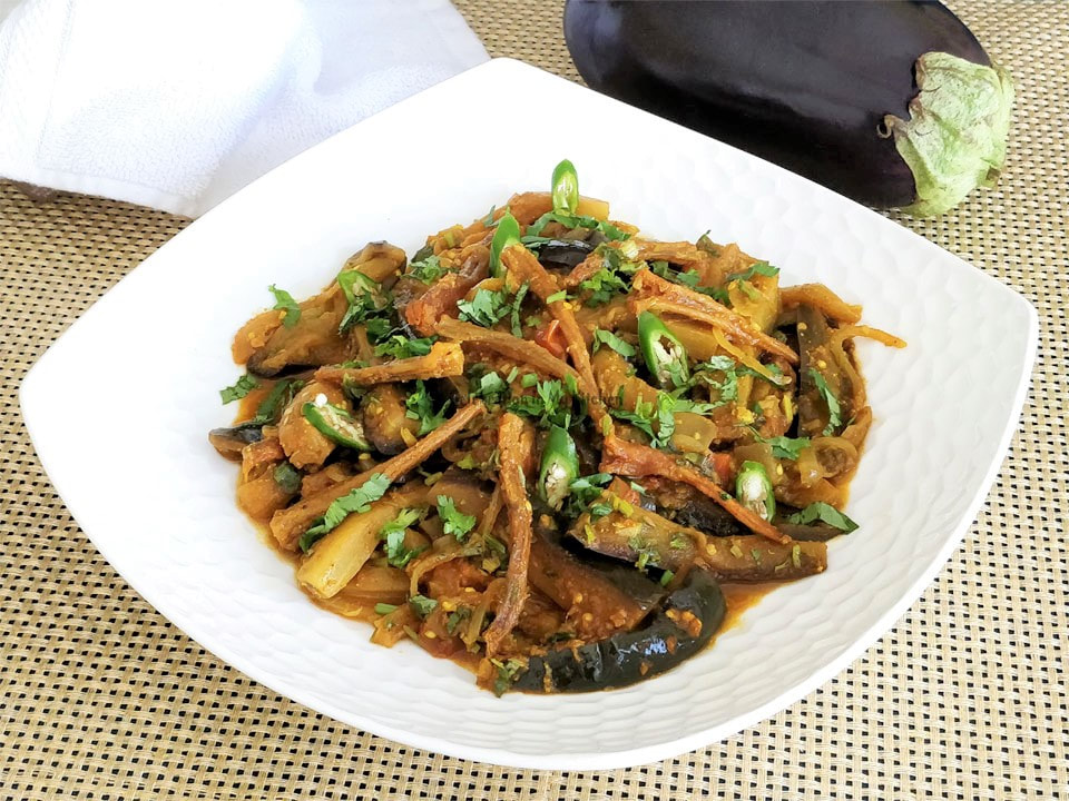 Savoury Eggplant With Dry Bombay Ducks (Bombil)